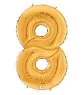 """64"""" Foil Shaped Gigaloon Balloon Packaged Number 8 Gold"""