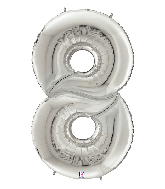 "64"" Foil Shaped Gigaloon Balloon Packaged Number 8 Silver"