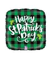 "18"" Foil Balloon St. Pat's Buffalo Plaid"