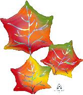 """30"""" Jumbo Iridescent Leaves Foil Balloon"""