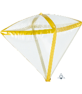"17"" X 15"" Gold Trim Diamondz Foil Balloon"