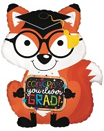 "22"" Congrats Grad Fox Foil Balloon"