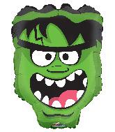 """18"""" Green Monster Head Foil Balloon"""