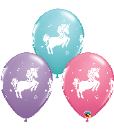 "11"" Unicorn Latex Balloons Lilac, C. Blue, Rose (50 Per Bag)"