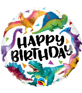 "18"" Birthday Colorful Dinosaurs Foil Balloon"