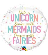 "18"" Unicorn/Mermaids/Fairies Foil Balloon"