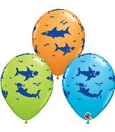"11"" Sharks Latex LGreen, Orange, RE Blue (50 Per Bag)"