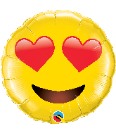 "28"" Smiley Face With Heart Eyes Foil Balloon"
