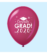 "11"" Congrats Grad 2020 Latex Balloons 25 Count Burgundy"