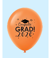 "11"" Congrats Grad 2020 Latex Balloons 25 Count Orange"