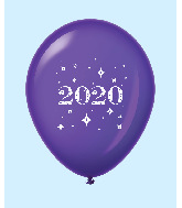 "11"" Year 2020 Stars Latex Balloons Purple (25 Per Bag)"