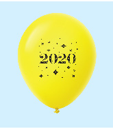 "11"" Year 2020 Stars Latex Balloons Yellow (25 Per Bag)"