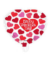 "18"" Happy Valentine's Day Many Heart Foil Balloon"