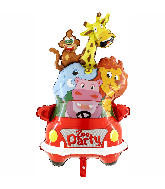 "35"" Animals Car Zoo Party Foil Balloon"