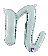 """14"""" Air Filled Only Script Letter """"N"""" Silver Foil Balloon"""