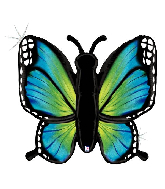 """46"""" Holographic Radiant Butterfly-Blue Foil Balloon"""