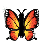 """46"""" Holographic Radiant Butterfly-Orange Foil Balloon"""