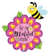 """38"""" Holographic Bee-Utiful Mom Flower Foil Balloon"""