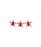 "37"" Air Filled Only USA Bunting Foil Balloon"