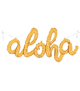 "45"" Air Filled Only Aloha Script - Gold Foil Balloon"