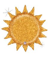 "30"" Holographic Gold Glitter Sunshine Foil Balloon"