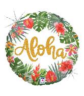 "18"" Holographic Tropical Aloha Foil Balloon"
