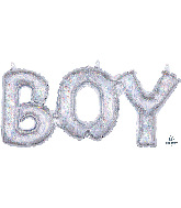"""20"""" Airfill Only Block Phrase Boy Holographic Balloon"""