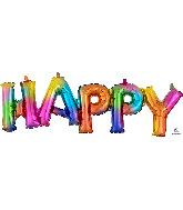 """30"""" Airfill Only Block Phrase Happy Rainbow Splash Balloon"""