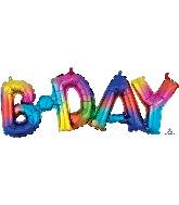 """26"""" Airfill Only Block Phrase Bday Rainbow Splash Balloon"""