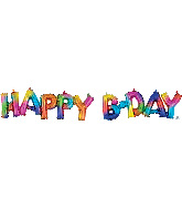 Airfill Only Block Phrase Happy Bday Rainbow Splash Balloon