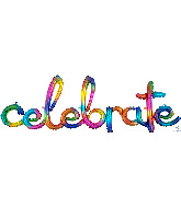 "59"" Airfill Only Script Celebrate Rainbow Splash Balloon"