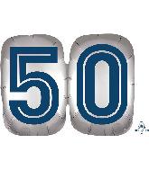 "25"" SuperShape™ Silver/Blue Number 50 Foil Balloon"