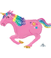"39"" SuperShape™ Pink Unicorn Foil Balloon"