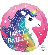 "18"" Pink Unicorn Happy Birthday Foil Balloon"