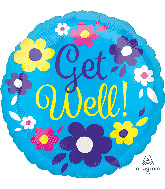 """21"""" ColorBlast Get Well Flowery Fun Foil Balloon"""