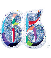 "27"" Holographic SuperShape™ Sparkles Number 65 Foil Balloon"
