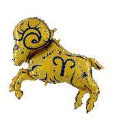 """40"""" Zodiac Sign Aries Gold Foil Balloon"""