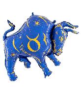 """40"""" Zodiac Sign Taurus Blue Foil Balloon"""