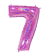 """40"""" Number """"7"""" Fucshia Glitter Holographic Balloons"""
