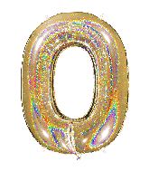 "40"" Number ""0"" Gold Glitter Holographic Balloons"