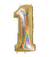 """40"""" Number """"1"""" Gold Glitter Holographic Balloons"""