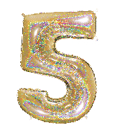 "40"" Number ""5"" Gold Glitter Holographic Balloons"