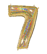 """40"""" Number """"7"""" Gold Glitter Holographic Balloons"""