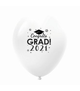"11"" Congrats Grad 2021 Latex Balloons 25 Count White"