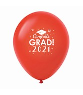 "11"" Congrats Grad 2021 Latex Balloons 25 Count Red"