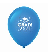 "11"" Congrats Grad 2021 Latex Balloons 25 Count Blue"