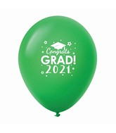 "11"" Congrats Grad 2021 Latex Balloons 25 Count Green"