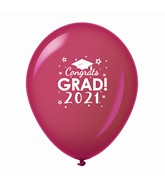 "11"" Congrats Grad 2021 Latex Balloons 25 Count Burgundy"