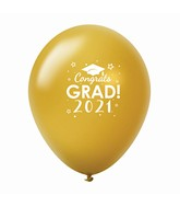 "11"" Congrats Grad 2021 Latex Balloons 25 Count Gold"