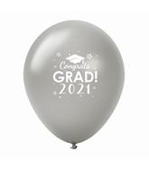 "11"" Congrats Grad 2021 Latex Balloons 25 Count Silver"